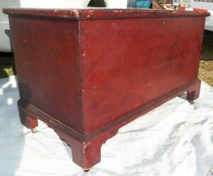 Antique Hand Dovetailed Pine Blanket Chest Bracket Feet Old Red Primitive Trunk