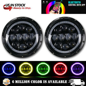 Pair Rgb 7 Led Headlights Drl Halo Lights Combo For Jeep Wrangler Jk Tj Lj Cj
