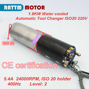 1 8kw Automatic Tool Change 220v Atc Water cooled Spindle Motor Iso20 Engraving