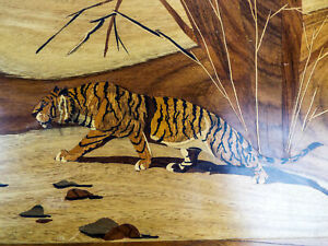Vintage Marquetry Inlaid Wood Carving Art Panel Tiger Inlaid Hard Wood Asian Art