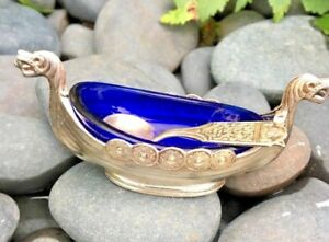 Viking Long Boat Salt Cellar Silver Plate With Pewter Spoon Cobalt Blue Glass