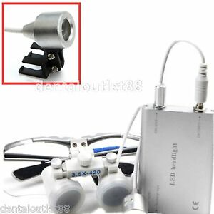 Brand Dental Surgical Binocular Loupe 3 5x 420mm Led Head Light Lamp