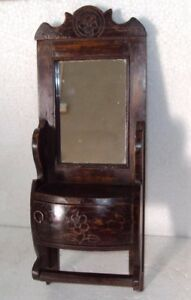 Old Indian Wooden Tribal Hand Crafted Dressing Mirror Frame With Drawer 16
