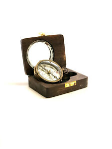 Brass Nautical Antique Style Dolland London Compass In Wooden Box Nautical