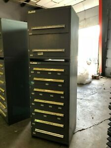 Stanley Vidmar Industrial Cabinet Double Stack 7 total Drawers