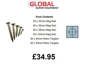 Survey Engineers Pack 25 32 38 50mm Mag Nails 20 30mm Reflective Targets