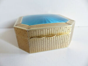 Large Superb Antique Solid Silver Gilded Guilloche Enamel Box Superb Quality