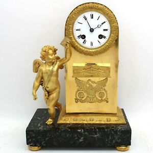 French Empire Pendulum Mantel Clock Ormolu In Bronze And Marble 1840 Ca
