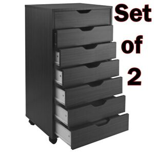Set Of 2 Office File Cabinet Casters Mobile 7 drawer Black Wood Documents Paper