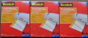 3 Pks Scotch Thermal Laminating Pouches 8 9 X 11 4 150 Ea Total 450 Sheets