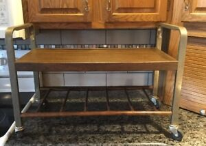 Vintage Danish Mid Century Modern Rolling Tv Cart Stand Mcm Wood Chrome Formica