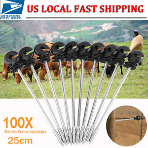 9 84 100x Fence Insulator Timber Wood Post Screw For Livestock Electric Fencing