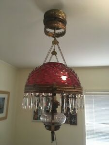 Bradley And Hubbard Antique Parlour Hanging Lamp