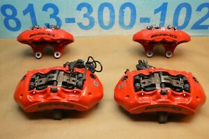 2015 W218 Mercedes Cls63 Amg Front And Rear Brake Caliper Calipers Set Of 4 Red