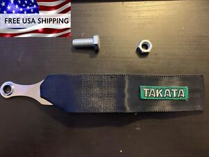 Black Takata Tow Strap Hook Universal Fit Jdm With Bolt
