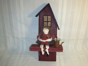 Rustic Primitive Country Folk Art Painted Wood Wall Shelf Sconce Angel Doll Peg