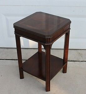 Mid Century Lane Chippendale Banded Mahogany Two Tier Accent Table