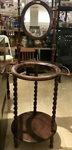 Unique Antique Early American Wash Stand Walnut Finish