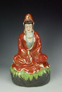 Very Nice China Antique Famille Rose Porcelain Kuanyin Buddha