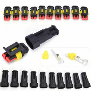 10x 2 Pin Car Suv Boat Wire Connector Plug Terminal Sealed Waterproof Electrical