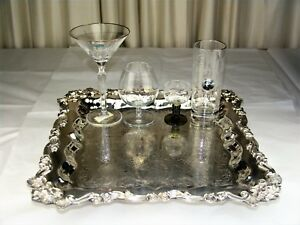 Sheridan Silver Footed Buffet Tray Butler Cocktail Serving Platter 15 Square
