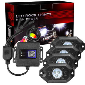 4 Pods Rgb Led Rock Lights Cree Music Wireless Bluetooth Atv Boat Truck Off Road