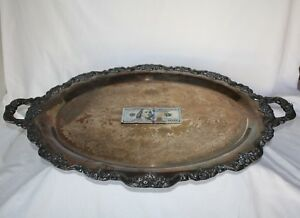 Silver Plated Ornate Serving Platter Meat Turkey Large Big Footed Handles 30