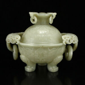 Chinese Hetian Jade Double Rings Incense Burner