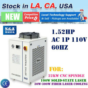 Usa 110v S a Industrial Water Chiller Cw 6000dn For 30w 300w Fiber Laser Cooling