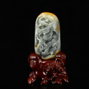 Chinese Natural Hetian Jade Double Dragon Statue