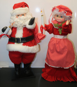 Mr Mrs Claus Vintage Moving Body Arms Head
