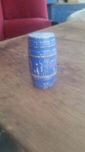 Early Wooden Miniature Container Original Blue Paint Aafa Nr
