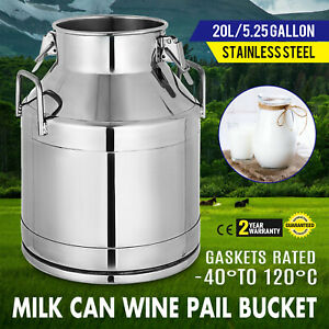 20 Liter Stainless Steel Can Milk Canister milk Pot Bucket Gallon Milker w lid