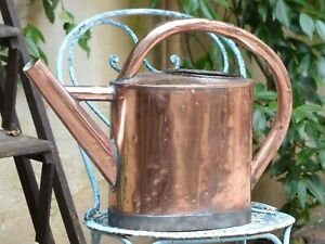 19th Century Antique French Copper Watering Can Arrosoir Cuivre Garden