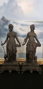 Two Antique Neo Classic Spelter Figures Representing Commerce And Industry