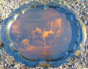 Mid 19th C Jennens And Bettridge Papier Mache Tray Stand Horse Stable Table