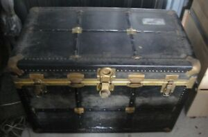 Antique Steamer Trunk With Brass And Leather