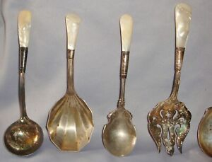Sterling Silver Banded Pearl Handle Serving Set 7 Pieces Unpolished Nice N