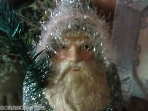 Antique Blue German Repro Father Christmas Santa Belsnickle Real Feather Tree