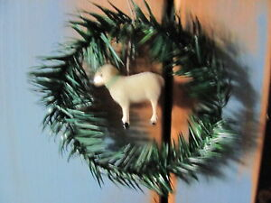Antique 5 1 4 German Style Putz Sheep Feather Tree Sprig Wreath Ornament New