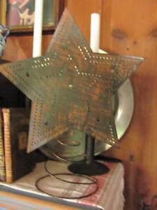 Antiqued Christmas 14 Punched Tin Star Tree Topper Will Hold Lights