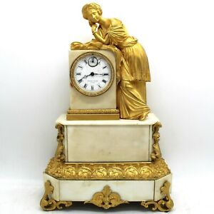 French Louis Philippe Pendulum Mantel Clock Ormolu In Bronze And Marble 1840 Ca