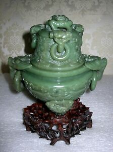 Large Chinese Carved Jade Censer Incense Burner On Stand