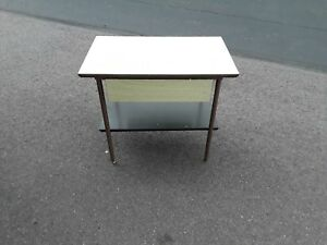Mid Century End Table Nite Stand Has Metal Legs And 1 Drawer Pick Up Only