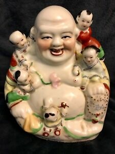 Antique Chinese Republic Porcelain Seated Famille Buddha Sculpture 76 Signed