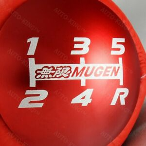 Red Leather Jdm Mugen Shift Knob 5 Speed For Honda Crz Type R Civic Fa5 Fg2 Si