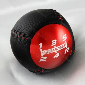 5 Speed Jdm Mugen Leather Shift Knob Red For Honda Crz Type R Civic Fa5 Fg2 Si