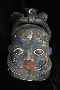 Antique Rare African Art Carved Wood Helmet Mask Large Bird Decorated 19c Nr