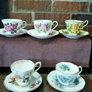 Vintage Lot Of 5 Sets Tea Cups And Saucers Made In England