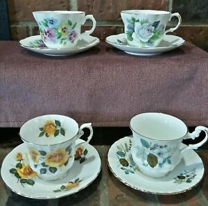 Vintage Lot Of 4 Tea Cups And Saucers Made In England